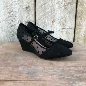 Torrid   black polka dot mesh Mary Jane wedges